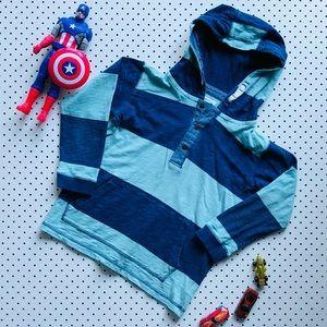 Boys Size 10 PUMPKIN PATCH Long Sleeve Hoodie Sweatshirt Green Blue 100% Cotton